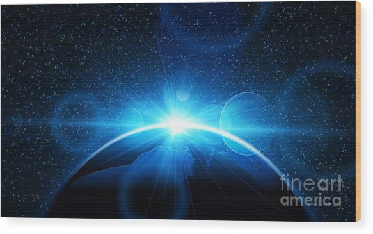 Planet Earth With Sunrise In Space Wood Print