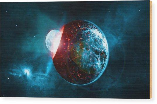 Planet Impact Wood Print