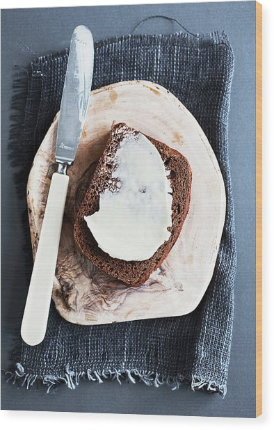 Plate Of Honeycake With Butter Wood Print by Cultura Rm Exclusive/line Klein