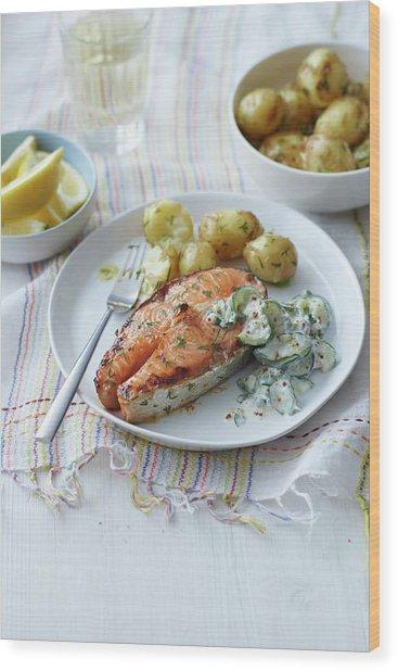 Plate Of Salmon, Potatoes And Salad Wood Print