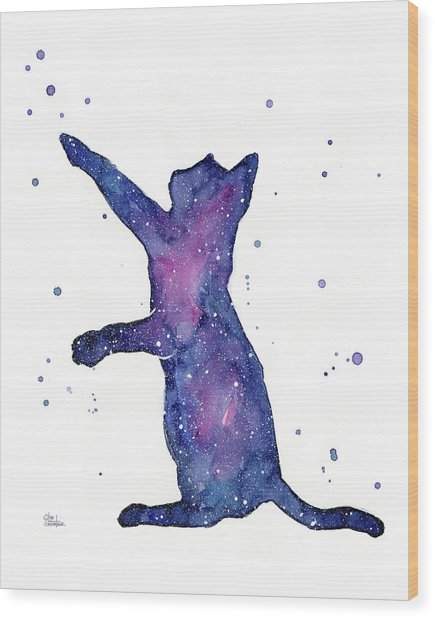 Playful Galactic Cat Wood Print