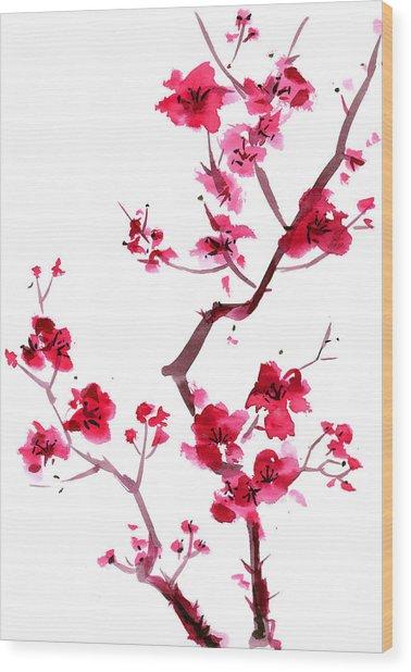 Plum Blossom Painting Wood Print