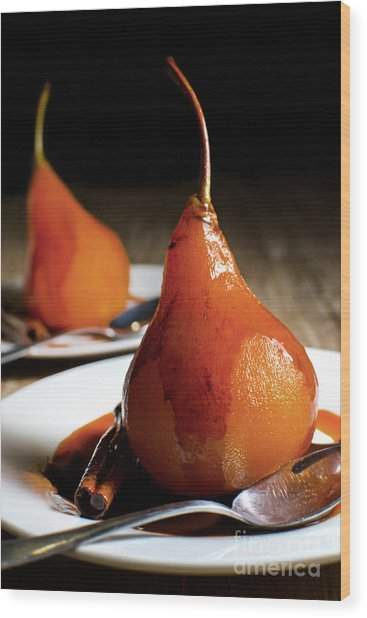 Poached Pears With Cinnamon Syrup Wood Print