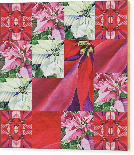 Poinsettia Christmas Quilt  Wood Print