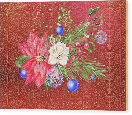 Poinsettia With Blue Ornaments  Wood Print