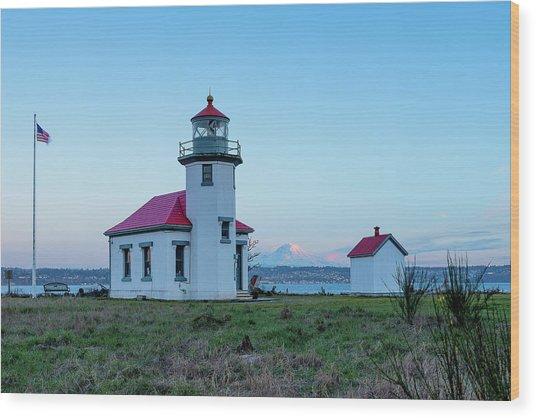 Point Robinson Lighthouse At Maury Island, Wa Wood Print
