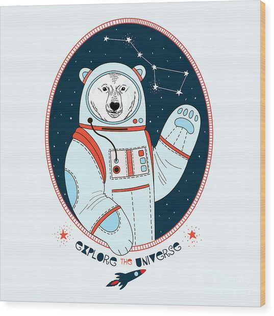 Polar Bear Astronaut In Outer Space Wood Print