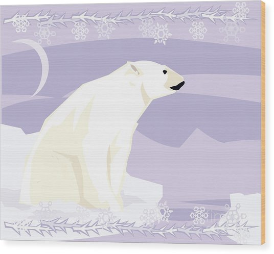Polar Bear In A Decorative Illustration Wood Print
