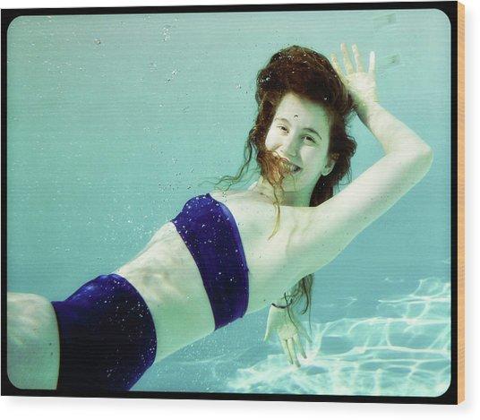 Pool Girl Wood Print