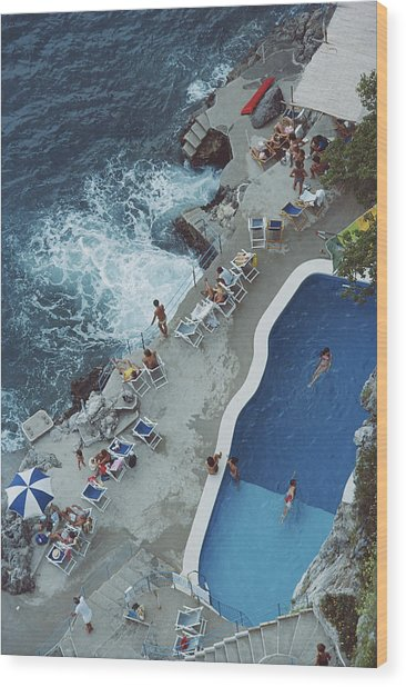 Pool On Amalfi Coast Wood Print