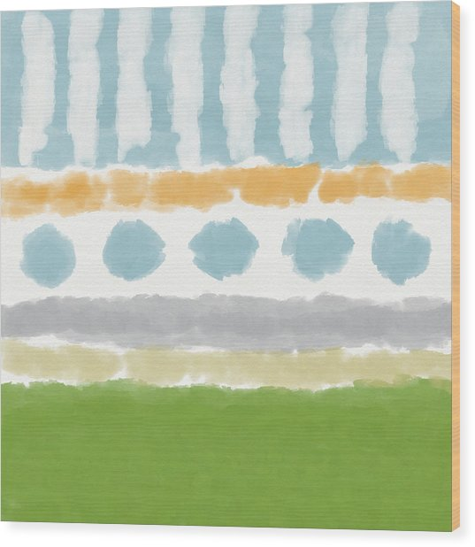 Poolside 3- Art By Linda Woods Wood Print