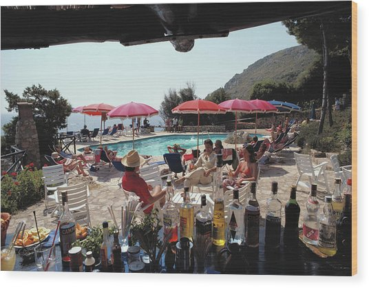 Poolside Bar Wood Print