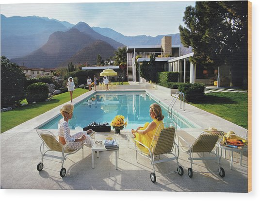 Poolside Glamour Wood Print