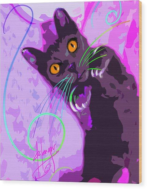 Pop Cat Angel Wood Print