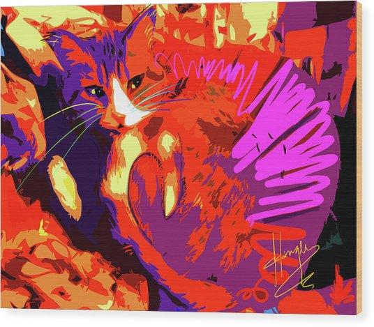Pop Cat Tiger Wood Print