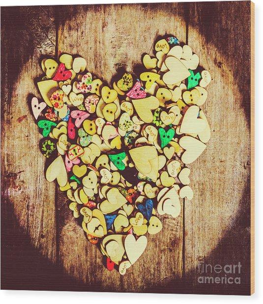 Pop Heart Togetherness Wood Print