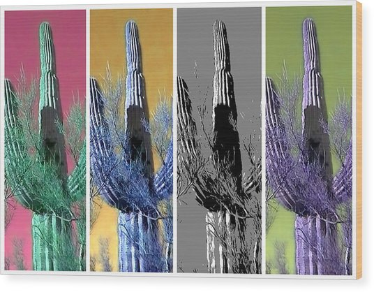 Pop Saguaro Cactus Wood Print