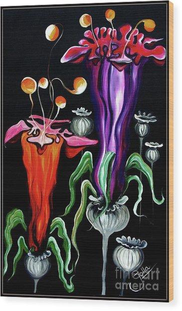 Poppies Fantasy.. Wood Print