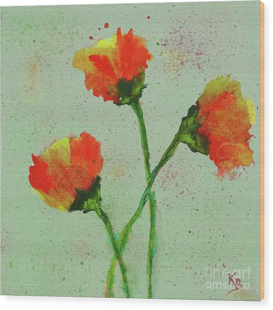Wood Print featuring the painting Poppies by Karen Fleschler