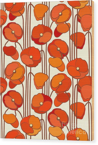 Poppies. Seamless Background Wood Print