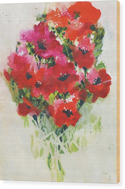 Poppy Bouquet Wood Print by Jan Griggs