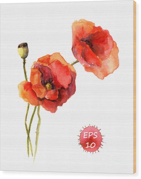Poppy Flower. Watercolor Vector Wood Print