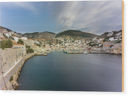 Port At Hydra Island Wood Print
