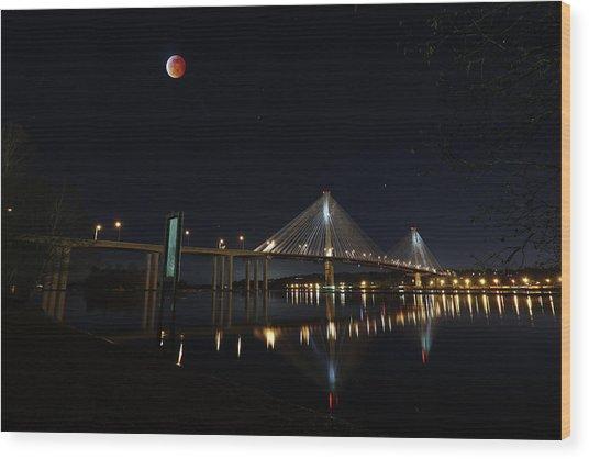 Port Mann Bridge With Blood Moon Wood Print