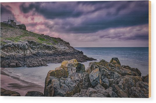 Porthgwidden Dramatic Sky Wood Print