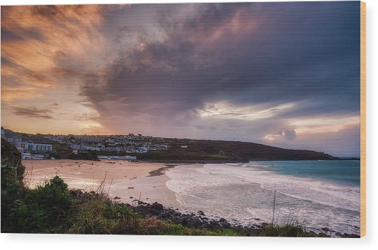 Porthmeor In The Sky Wood Print