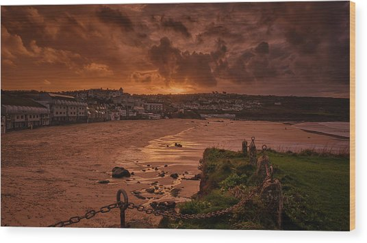 Porthmeor Sunset 2 Wood Print