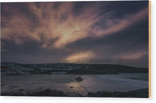 Porthmeor Sunset 4 Wood Print