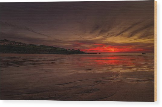 Porthmeor Sunset Wood Print