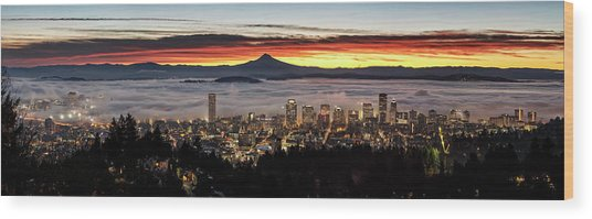 Portland Foggy Sunrise Wood Print
