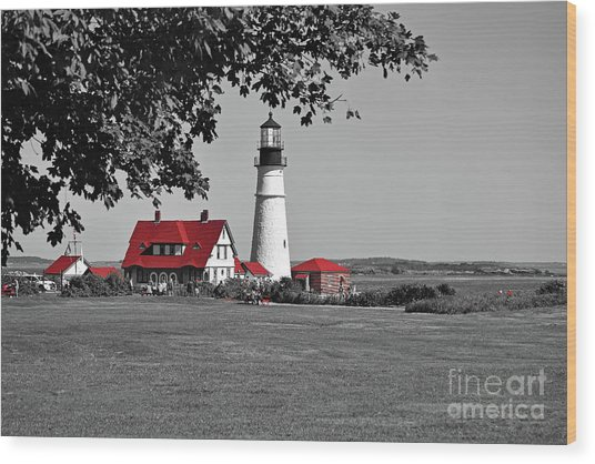 Wood Print featuring the photograph Portland Head Red by Patti Whitten