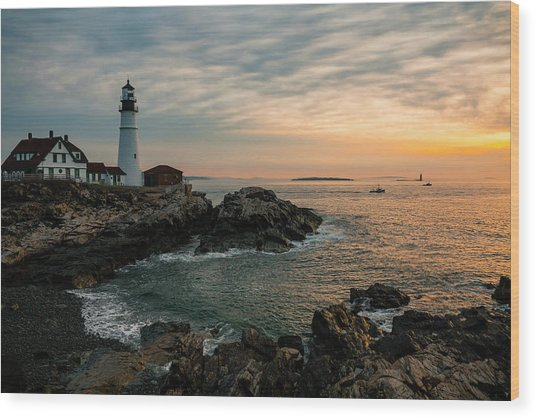 Portland Head Sunrise Final Wood Print