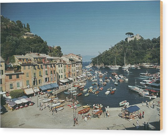 Portofino Harbour Wood Print by Slim Aarons