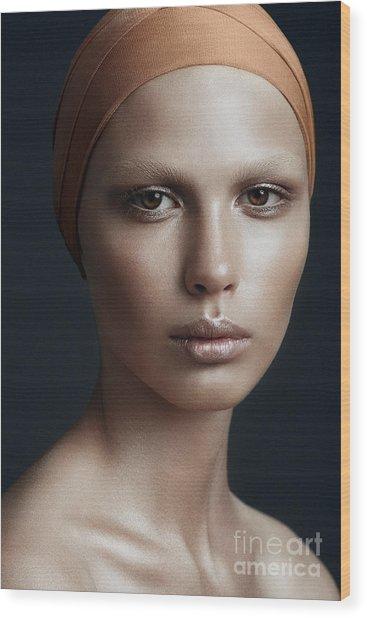 Portrait Of A Beautiful Girl With A Wood Print by Yuliya Yafimik