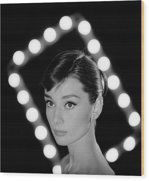 Portrait Of Actress Audrey Hepburn Wood Print by Allan Grant