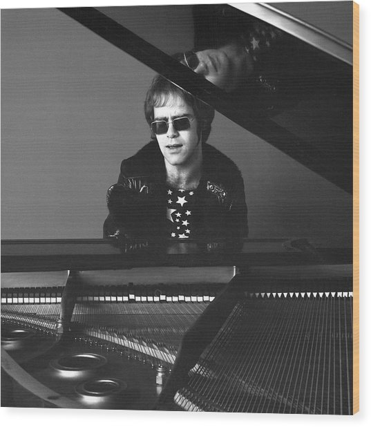 Portrait Of Elton John Wood Print