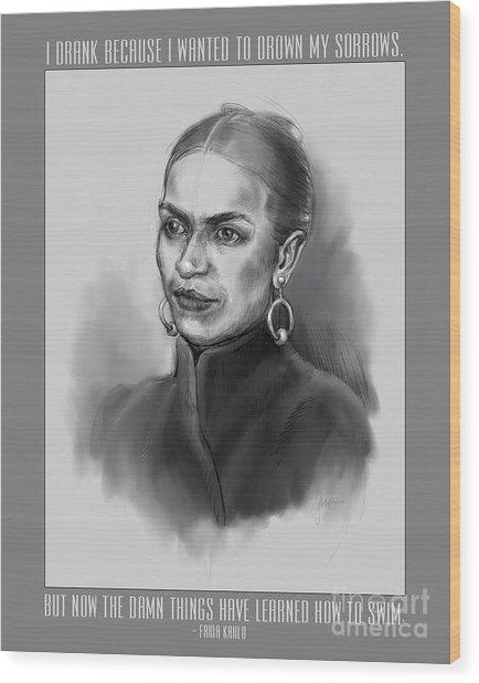 Portrait Of Frida Kahlo Wood Print
