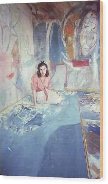 Portrait Of Helen Frankenthaler Wood Print by Gordon Parks