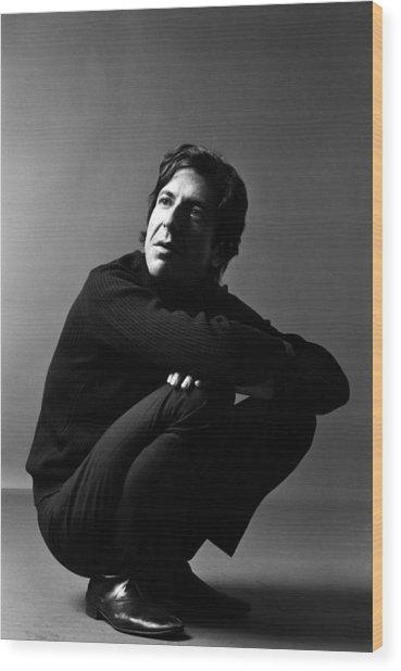 Portrait Of Leonard Cohen Wood Print by Jack Robinson
