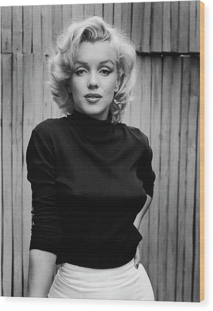 Portrait Of Marilyn Monroe Wood Print