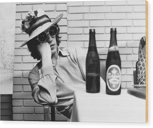 Portrait Of Mick Jagger With A Sun Hat Wood Print by Keystone-france