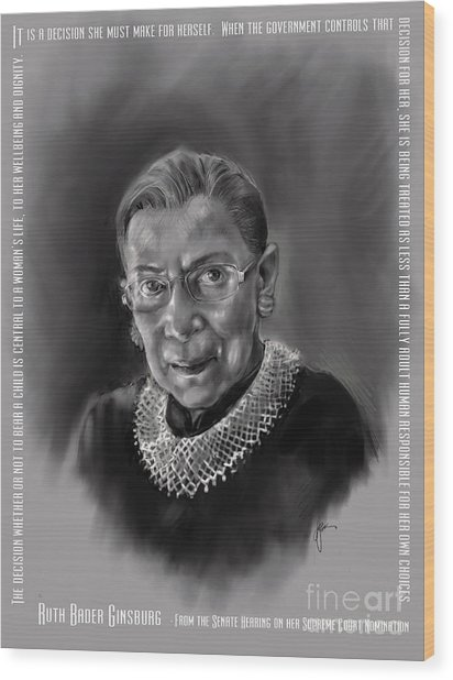 Portrait Of Ruth Bader Ginsburg Wood Print