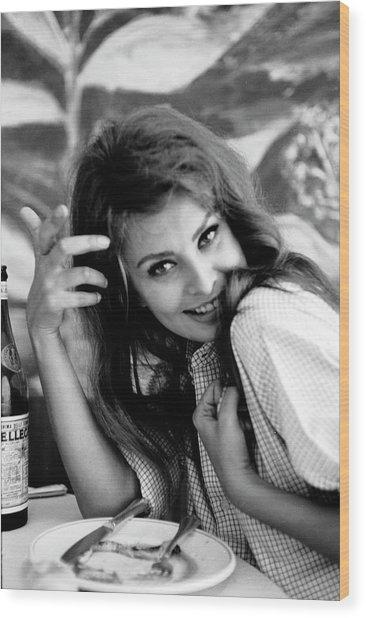 Portrait Of Sophia Loren Wood Print
