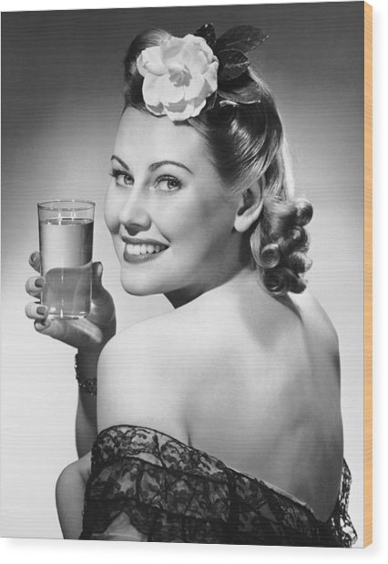 Portrait Of Woman Holding Glass Of Water Wood Print