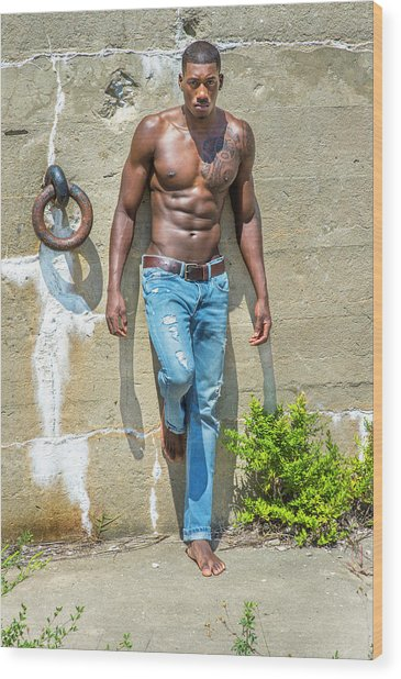 Portrait Of  Young Black Fitness Guy Wood Print