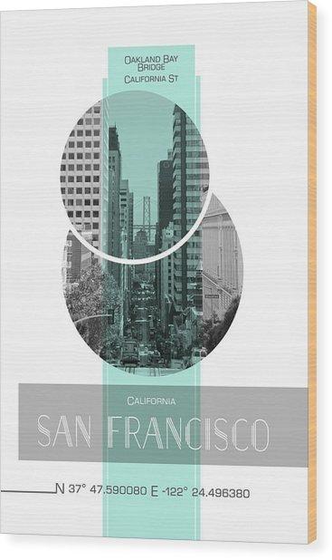 Poster Art San Francisco California Street Wood Print by Melanie Viola